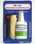 Record Cleaning Kit. Comes with micro bristled cleaning brush, 1 two oz bottle of cleaning fluid and one cotton cleaning cloth.