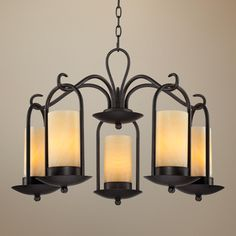 """Onyx Faux Stone Candle 30"""" Wide Espresso Outdoor Chandelier -"""