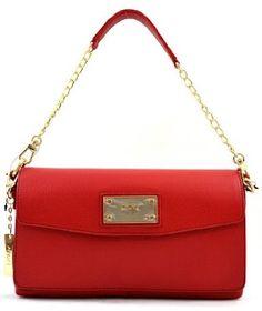 Dkny Soft Leather Shoulder Bag Purse Handbag Clutch Red