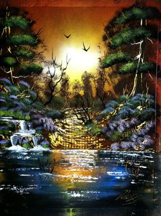 Sunset 14x18 inch spray painting by RS10SprayPaint on Etsy, $45.00
