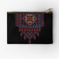 'Palestinian Traditional Tatreez Cross Stitch Design Zipper Pouch by QualiTshirt Palestinian Embroidery, Art Design, Embroidery Art, Cross Stitch Designs, Stitches, Custom Design, Pouch, Crafty, Traditional