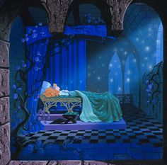Sleeping Beauty Castle diorama concept by Eyvind Earle, 1957