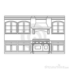Illustration about Kitchen cabinet elevation line drawings. Illustration of dishwasher, design, dining - 14125622 Kitchen Cabinets Elevation, Stock Kitchen Cabinets, Kitchen Cabinet Design, Architecture Blueprints, Architecture Design, Kitchen Work Triangle, Kitchen Drawing, Cabinet Makers, Decor Styles