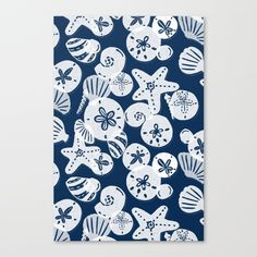 Navy and White Seashells Canvas Print by Noonday Design