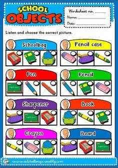 School objects - worksheeet