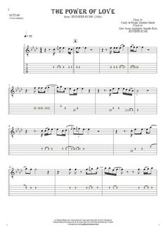The Power Of Love sheet music by Jennifer Rush. From album Jennifer Rush (1984). Part: Notes and tablature for guitar.
