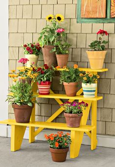 thisoldhouse: STAIR-RISER PLANT STAND How to create a container garden that's a step above the rest? Build a plant riser using stair parts. To create this cheery display, we started with two three-step stringers, using 1x4s, making sure to leave a bit of drainage space between them. Two mitered 1x2s nailed in place form a charming crisscross back, and a coat of punchy yellow exterior paint (Behr's Citrus Splash) makes the whole piece sing. The final step: filling it with pots large and…