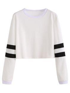 Camiseta manga de rayas crop - blanco
