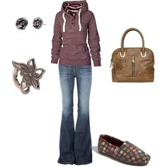 Comfy Hoody.. Cute outfit Ahl super flare pants I love those........I could totally do this one!!