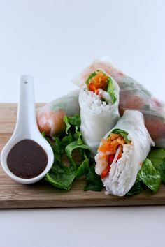 shrimp rolls with ginger-peanut dipping sauce. I have a phillipino friend that makes these & they're awesome!!! SO excited to have the recipe!