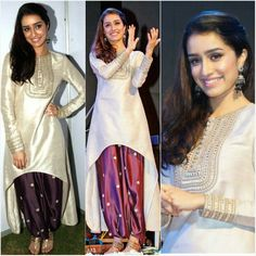 Shraddha Kapoor in an asymmetrical kurta set by Payal Singhal
