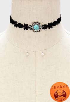 """11.50"""" howlite stone lace choker collar necklace .20"""" earrings .80"""" wide"""