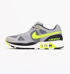 8947a791311d Nike Air Stab Mens 312451 003 Grey Volt Running Shoes Athletic Sneakers  Size 11