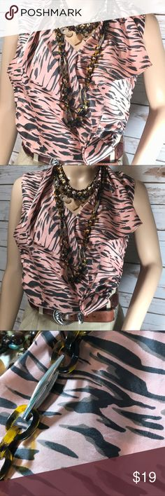 "Cabi Brown and Peach 100% Silk Blouse SIZE M Cabi Brown and Peach Silky Blouse SIZE M - Bust -= 40"". Necklaces not included. CAbi Tops Blouses"
