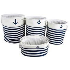Set of Six Round & Oval Baskets In Nautical - Beyond the Rack