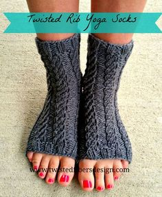 Free knitting pattern yoga socks. Easy toeless socks knit in twisted rib pattern.