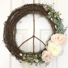 Peace Sign Wreath/18 Inch Wreath/Modern Wreath/Farmhouse Wreath/Rustic Wreath/Boho Wreath/Peace Wreath/Door Wreath/Boho Chic Wreath/Nursery by SunshineSkyStudio on Etsy