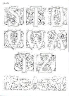 Art Nouveau Alphabet ~ This may be from Judy Balchin's' book - 3 of 3 Motifs Art Nouveau, Design Art Nouveau, Motif Art Deco, Art Nouveau Pattern, Jugendstil Design, Calligraphy Letters, Illuminated Letters, Letters And Numbers, Colouring Pages