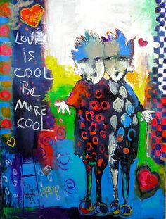 "Jeanne Bessette at Mirada Fine Art, 'Love Is Cool,' 40"" x 30"", Original Acrylic/Mixed Media on Canvas"