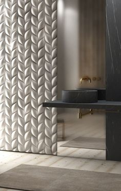Bathroom Inspiration | Interiors | Tridimensionali TRECCIA by 3D Surface design Jacopo Cecchi