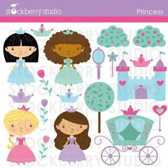 Princess Clipart Set - Royal Personal and Commercial Use Vector Clipart Set