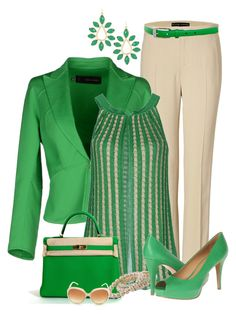 A fashion look from March 2014 featuring green sleeveless top, jacket and dinner suit. Browse and shop related looks. Classy Outfits, Stylish Outfits, Beautiful Outfits, Business Attire, Business Fashion, Mode Outfits, Fashion Outfits, Work Fashion, Fashion Looks