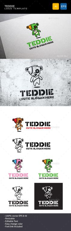 Teddie - Logo Design Template Vector #logotype Download it here: http://graphicriver.net/item/teddie/10905190?s_rank=432?ref=nexion