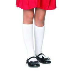 White knee socks...they would always slide down, so would wear a rubber band and fold down the top edge