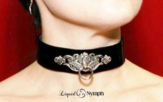 BDSM Elegant Collar Cupids Intended Fetish Leather Bondage Choker With Snaps OR Locking Post (Heart Lock included)