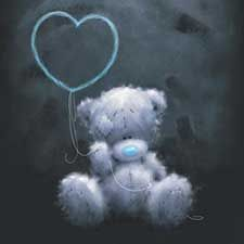 Tatty Teddy with Heart Balloon Outline Me to You Bear Card