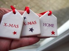 Gift Tags Ceramic houses Christmas tree by VitezArtGlassDesign