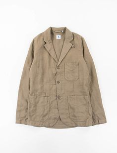 Olive Plain Weave Linen Villefranche Jacket