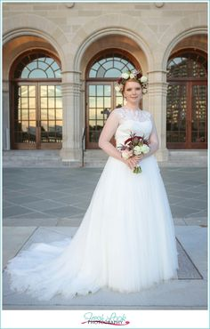 bridal portraits at sunset, Chrysler Museum Bridal Portraits, Fresh Look Photography, bride, Chrysler Museum, bridal portraits, merlot, wedding bouquet, getting married, soft and romantic, feminine wedding, wedding dress, floral crown