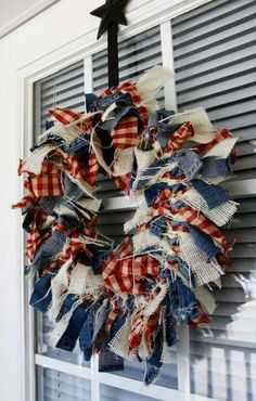 Scrap cloth wreath