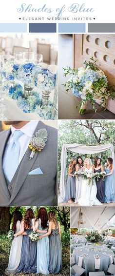 shades of blue backyard wedding color combos