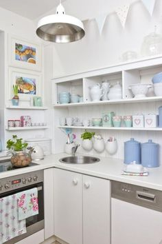 Ikea hanging pots (love how they are attached) Kitchen Pantry, Kitchen Dining, Dining Room, Pastel House, Cottage Kitchens, Hanging Pots, Miniature Kitchen, Shabby Chic Kitchen, Apartment Design