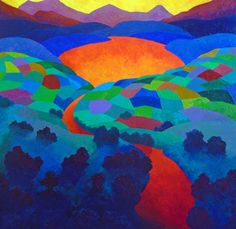 FINEARTSEEN - View By Dawns Early Light by Stephen Conroy. A vibrant colourful original abstract landscape painting. Available on FineArtSeen - The Home Of Original Art. Enjoy Free Delivery with every order. Abstract Landscape Painting, Artist Painting, Landscape Art, Artwork Online, Buy Art Online, Original Art, Original Paintings, Painting Gallery, Impressionism Art