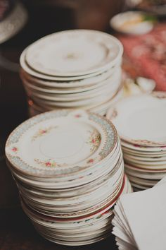 vintage floral plates // photo by Dove + Sparrow // View more: http://ruffledblog.com/brooklyn-winery-wedding/