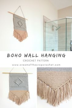 Crochet Pattern - BOHO WALL HANGING: This wall hanging is all about texture which is why it utilizes a variety of stitches. Stitches as simple as single crochet to the more decorative bobble stitch. CLICK THE LINK NOW! Crochet Diy, Boho Crochet Patterns, Crochet Wall Art, Crochet Wall Hangings, Crochet Simple, Manta Crochet, Modern Crochet, Tapestry Crochet, Crochet Crafts