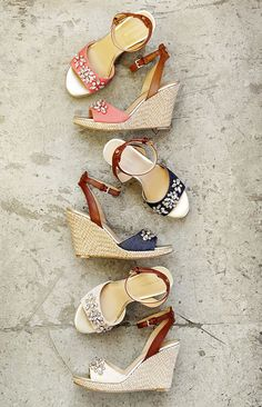 Add some sparkle to your step with wedges that really stand out. These jude-wrapped heels featuring crystal embellishments will make a statement without overpowering your outfit. Wear them with your favorite midi skirt for lunch with the girls.