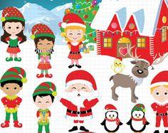 Christmas clipart Happy Elves Clip art and by pixelpaperprints