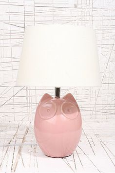 """Hector the Owl"" Rosa Lampe mit UK-Stecker"