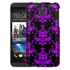 HTC Desire 610 Damasks Pattern Purple on Black Slim Case