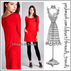 """Be My Valentine Tunic Perfect Valentine red tunic with two front pockets and button detail. Made of rayon and spandex. Pair with a lace tunic extender for a really cute look. Size S, M, L.                                    Small Bust 36"""" Length 31"""" Medium Bust 38"""" length 32"""" Large Bust 40"""" Length 33"""" Threads & Trends Tops Tunics"""