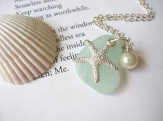 Sefoam Sea Glass Necklace with Starfish and fresh water pearl -  Perfect nautical gift for sisters, girlfriends or Bridesmaids FREE SHIPPING