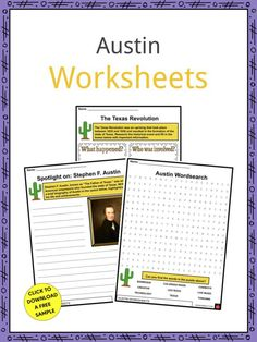 This is a fantastic bundle which includes everything you need to know about the Austin across 21 in-depth pages. These are ready-to-use Austin worksheets that are perfect for teaching students about the Austin, the capital city of the state of Texas in the United States, which is the southernmost state capital in the country and is home to nearly 1 million people. It was settled in 1835 and incorporated on December 27th, 1839. Geography Worksheets, Social Studies Worksheets, Live Music Austin, Texas Revolution, Geography For Kids, South By Southwest, Opinion Piece, The Austin, Sign I