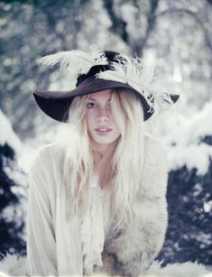 coat and hat and blonde