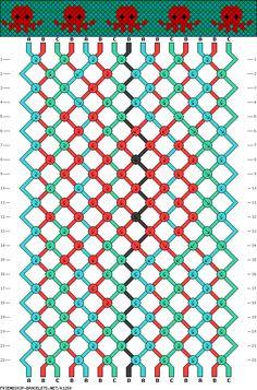 friendship bracelet patterns - 15 strings, 22 rows, 4 colors octopus