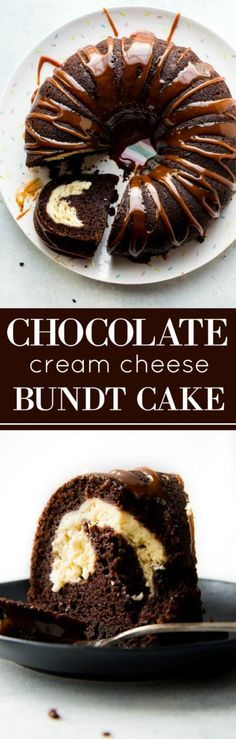This chocolate cream cheese bundt cake is moist, rich, and decadent and is finished off with delicious salted caramel sauce! EASY recipe on sallysbakingaddic. Bon Dessert, Dessert Party, Just Desserts, Delicious Desserts, Dessert Recipes, Easy Cream Cheese Desserts, Delicious Chocolate, Food Cakes, Cupcake Cakes
