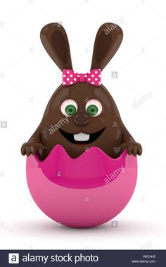 Download this stock image: 3d rendering of Easter chocolate bunny in egg shell isolated over white background - HKC4H2 from Alamy's library of millions of high resolution stock photos, illustrations and vectors.